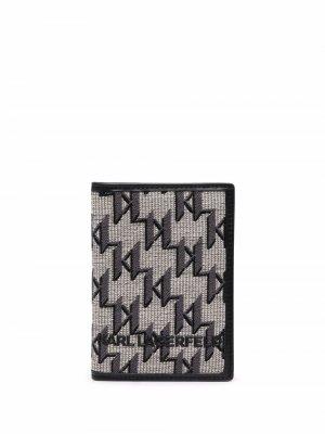 Жаккардовая обложка для паспорта K/Monogram Karl Lagerfeld. Цвет: нейтральные цвета