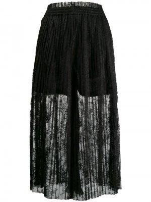 Кружевная юбка макси с плиссировкой Mm6 Maison Margiela