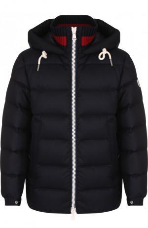 Утепленная куртка Gartempe на молнии с капюшоном Moncler. Цвет: темно-синий
