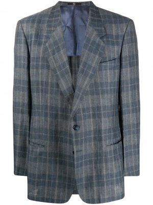 Клетчатый пиджак узкого кроя 1980-х годов Valentino Pre-Owned. Цвет: синий