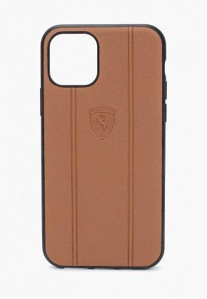 Чехол для iPhone Ferrari 11 Pro, Stamped logo Embossed lines Leather Camel. Цвет: коричневый