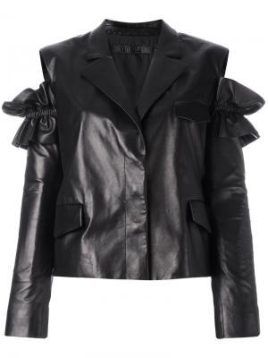 Кожаная куртка с разрезами на плечах Drome. Цвет: чёрный