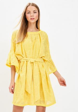 Платье Lost Ink RUFFLE SLEEVE EMBROIDERED MINI DRESS. Цвет: желтый
