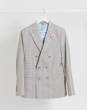 Узкий двубортный пиджак в клетку -Серый Gianni Feraud
