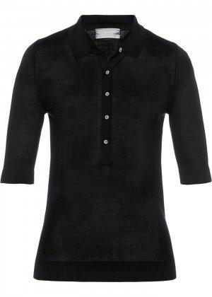Пуловер с воротником поло bonprix. Цвет: черный