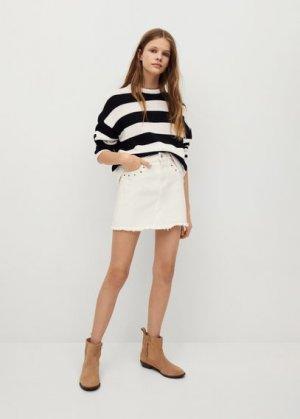 Джинсовая юбка с заклепками - Anns Mango. Цвет: белый