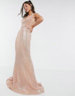 Розовое платье макси с лифом-бандо вырезом -Розовый цвет Jovani