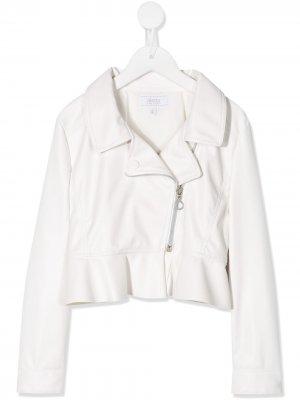 Байкерская куртка с оборками Aletta. Цвет: белый