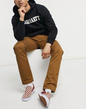 Классические зауженные брюки из саржи Vicious-Коричневый цвет Carhartt WIP