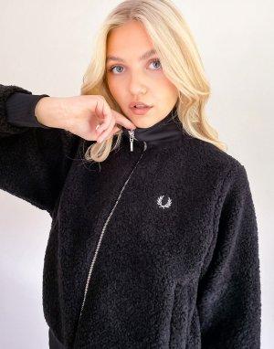 Черная куртка-бомбер с искусственным мехом -Черный Fred Perry