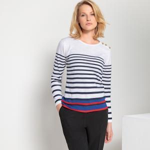 Пуловер с круглым вырезом в матросском стиле из 50% шерсти мериноса ANNE WEYBURN. Цвет: в полоску
