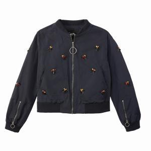 Куртка-бомбер с вышивкой SCHOOL RAG. Цвет: темно-синий