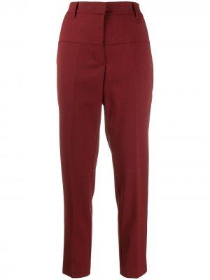Зауженные брюки средней посадки 8pm. Цвет: красный