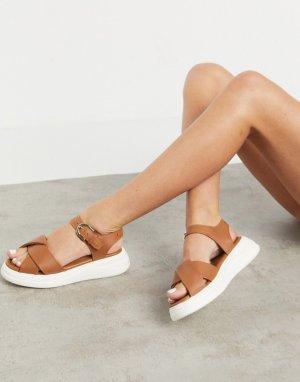 Светло-коричневые кожаные сандалии на массивной подошве Nora-Коричневый цвет Fiorelli