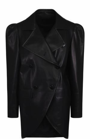 Двубортная кожаная куртка с рукавом-фонарик DROMe. Цвет: черный