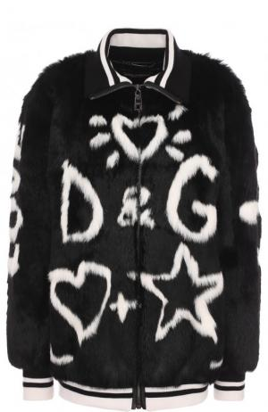 Бомбер из меха кролика с принтом Dolce & Gabbana. Цвет: чёрный