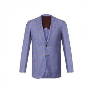 Пиджак из смеси шерсти и шелка Luciano Barbera. Цвет: синий
