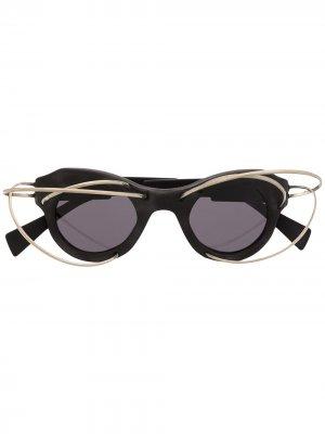 Солнцезащитные очки Mask L1 в круглой оправе Kuboraum. Цвет: черный