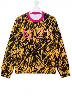 Толстовка с тигровым принтом и логотипом Nº21 Kids. Цвет: желтый