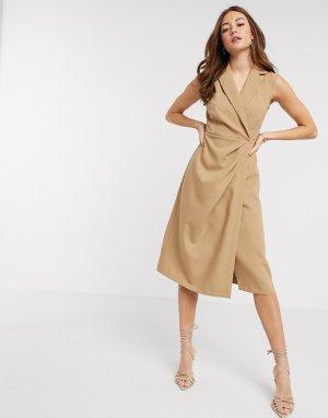 Бежевое платье миди с запахом -Коричневый Closet London