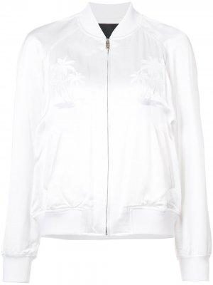 Куртка бомбер с вышивкой Alexander Wang. Цвет: белый