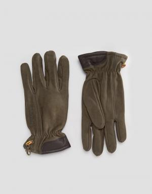 Перчатки из натуральной замши Timberland. Цвет: коричневый