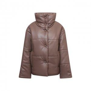 Утепленная куртка из экокожи Nanushka. Цвет: коричневый
