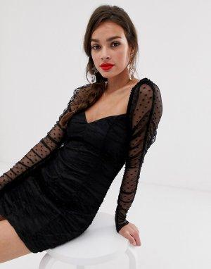 Платье мини с сеткой в горошек и сборками Palermo-Черный Finders Keepers