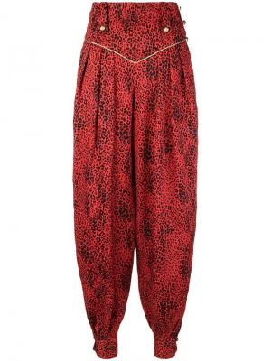 Леопардовые брюки-шаровары Alessandra Rich. Цвет: красный