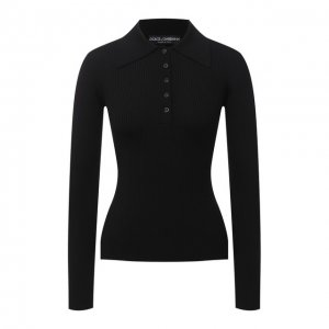 Шерстяное поло Dolce & Gabbana. Цвет: чёрный