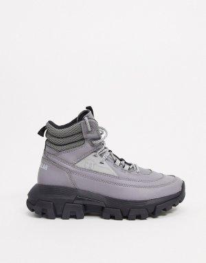 Серые высокие ботинки на шнуровке CAT raider-Серый Footwear