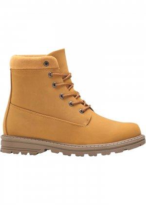 Детские ботинки на шнуровке bonprix. Цвет: желтый