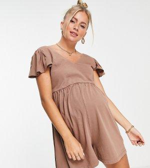 Рыжий свободный ромпер с оборками на рукавах ASOS DESIGN Maternity-Коричневый цвет Maternity