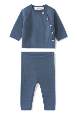 Синий шерстяной комплект Bonpoint. Цвет: синий