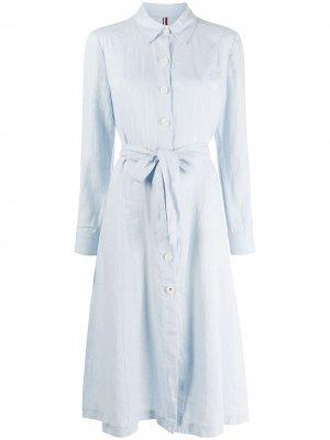 Платье-рубашка миди Tommy Hilfiger. Цвет: синий