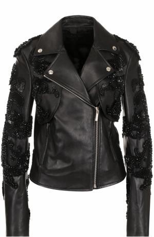 Кожаная куртка с косой молнией и декоративной отделкой Elie Saab. Цвет: черный