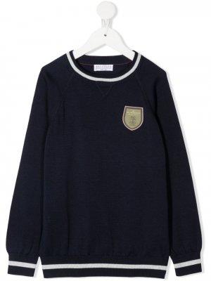 Джемпер с контрастной отделкой и нашивкой-логотипом Brunello Cucinelli Kids. Цвет: синий