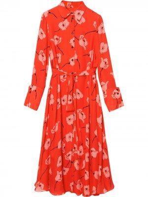 Платье-рубашка с цветочным принтом Carolina Herrera. Цвет: красный
