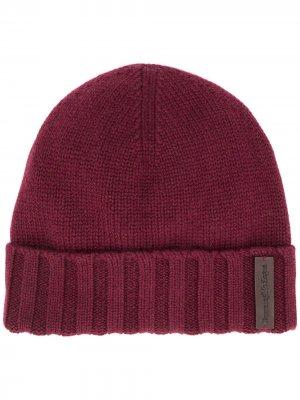 Кашемировая шапка бини с нашивкой-логотипом Ermenegildo Zegna. Цвет: красный