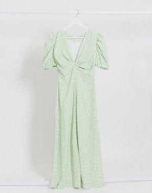 Чайное платье миди в волнистую клетку -Зеленый Glamorous