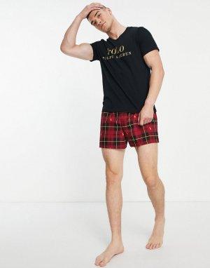 Домашний подарочный комплект из футболки и шорт в красную клетку со сплошным принтом логотипа виде поло-пони -Разноцветный Polo Ralph Lauren