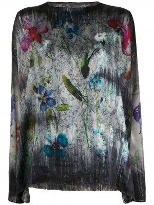 Джемпер с цветочным принтом Avant Toi. Цвет: серый