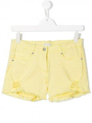 Джинсовые шорты с декоративными дырами Elsy. Цвет: желтый