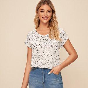 Блуза в горошек с изогунтым краем SHEIN. Цвет: белые