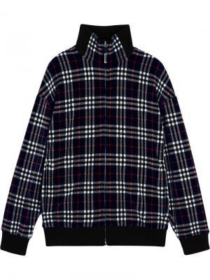Бархатная куртка-бомбер в клетку Burberry. Цвет: синий