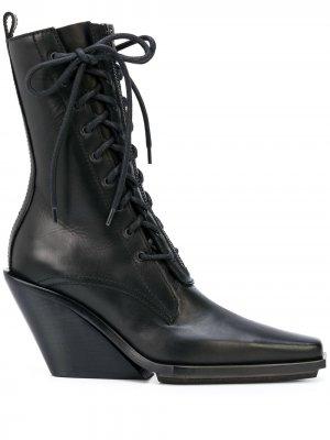 Ботильоны на шнуровке с заостренным носком Ann Demeulemeester. Цвет: черный