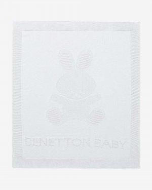 Детский плед из 100% хлопка Benetton. Цвет: белый