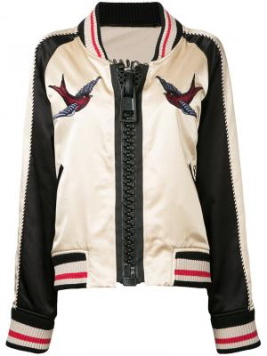 Куртка-бомбер с вышивкой Maison Mihara Yasuhiro. Цвет: нейтральные цвета
