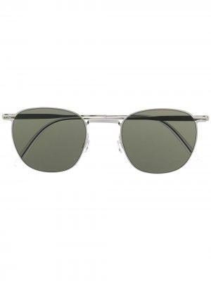 Солнцезащитные очки в круглой оправе Haffmans & Neumeister. Цвет: серебристый