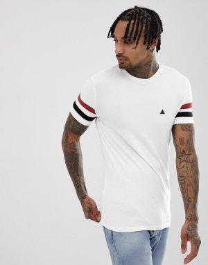 Белая обтягивающая футболка с контрастными полосами на рукавах -Белый ASOS DESIGN